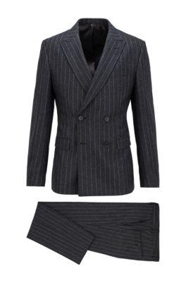 Slim-fit suit in pinstripe virgin wool, Light Grey