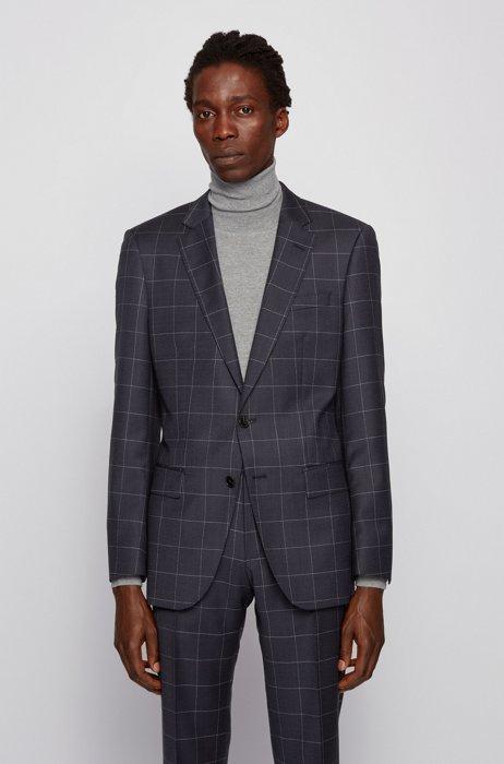 Slim-fit jacket in checked virgin-wool serge, Dark Blue