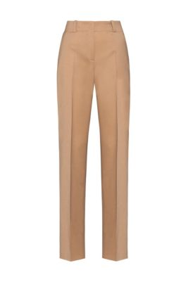 Regular-fit trousers in virgin-wool flannel with stretch, Light Brown