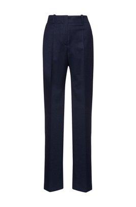 Pantalones regular fit en franela de lana virgen con elástico, Celeste