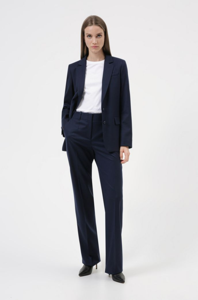 Regular-fit trousers in virgin-wool flannel with stretch