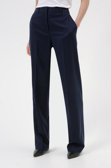 Regular-fit trousers in virgin-wool flannel with stretch, Dark Blue