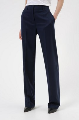 Regular-fit trousers in virgin-wool flannel with stretch, Light Blue