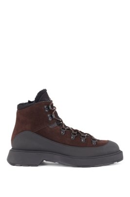 Hiking-inspired boots in mixed leather, Dark Brown