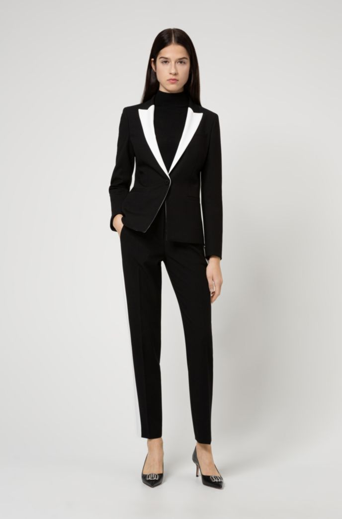 Regular-fit jacket with contrast peak lapels