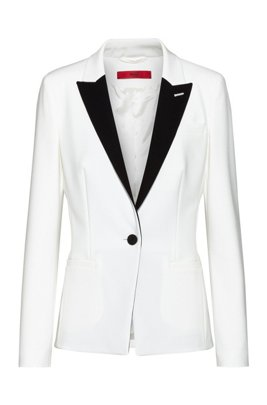Regular-fit jacket with contrast peak lapels, White