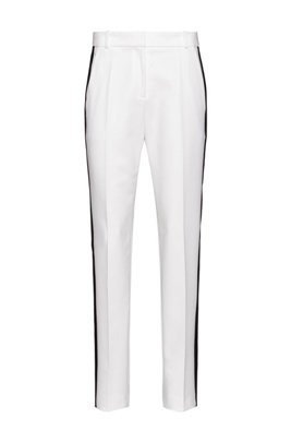 Regular-fit trousers with contrast side stripe, White