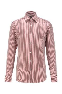 Camicia slim fit in twill di seta con stampa a righe, Rosso scuro