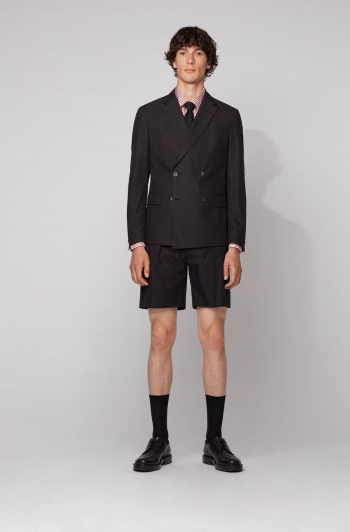Camicia slim fit in twill di seta con stampa a righe
