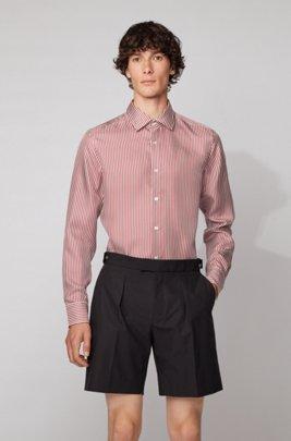 Slim-fit shirt in stripe-print silk twill, Dark Red
