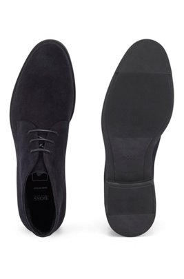 Italian-made desert boots in suede with Outlast® lining, Dark Blue