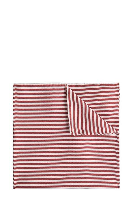 In Italië vervaardigde zijden pochet met rolzoom, Donkerrood