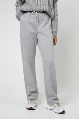 Regular-fit trousers in French terry with zipped hems, Grey