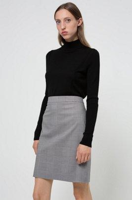 High-waisted Glen-check miniskirt in stretch fabric, Light Blue