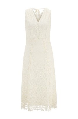 V-neck sleeveless maxi dress in floral lace, White