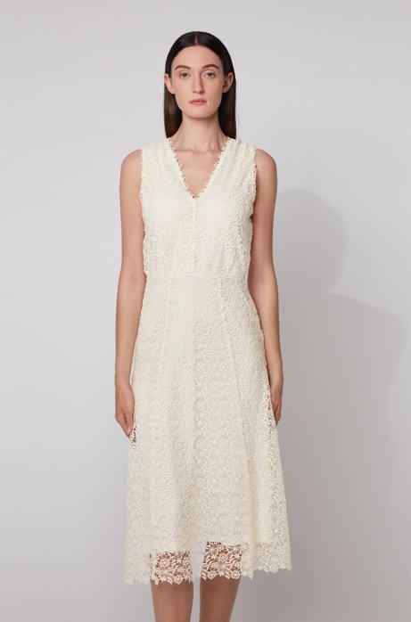 Mouwloze maxi-jurk van gebloemd kant met V-hals, Wit