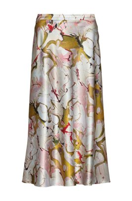 Marble-print A-line skirt in hammered fabric, Patterned