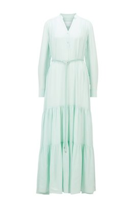 Maxi dress in silk georgette with hardware-trimmed belt, ターコイズ