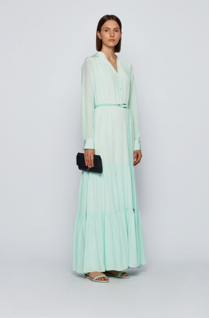 Maxi dress in silk georgette with hardware-trimmed belt