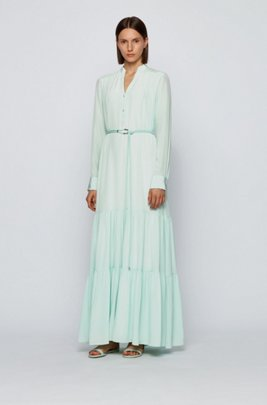 Maxi dress in silk georgette with hardware-trimmed belt, Turquoise