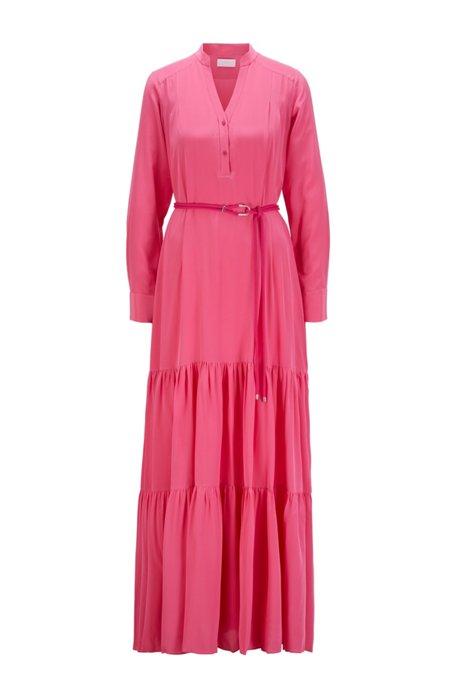 Maxikleid aus Seiden-Georgette mit Gürtel mit Metall-Details, Pink