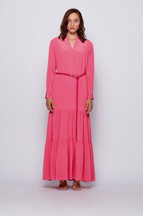 Maxi-jurk in een georgette van zijde met ceintuur met hardwaredecoratie, Pink