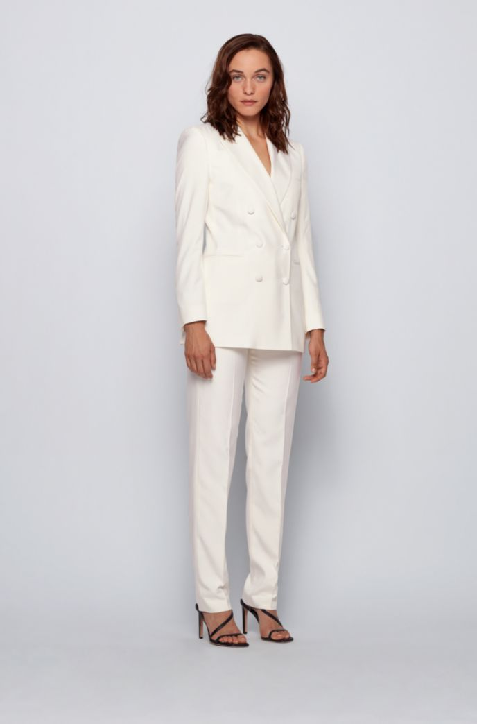 Relaxed-fit double-breasted jacket in pure silk