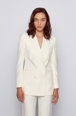 Relaxed-fit double-breasted jacket in pure silk, White