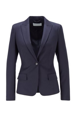 Pinstripe jacket in stretch virgin wool, Patterned