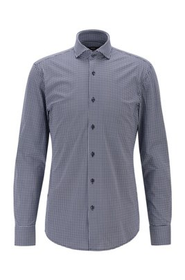 Slim-fit shirt in Italian performance-stretch fabric, Dark Blue