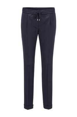 Regular-fit pinstripe trousers in traceable stretch virgin wool, Patterned