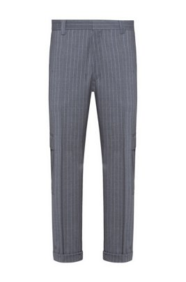 Tapered-fit trousers in pinstripe virgin wool, Silver
