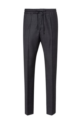Extra-slim-fit trousers in micro-patterned virgin wool, Dark Grey