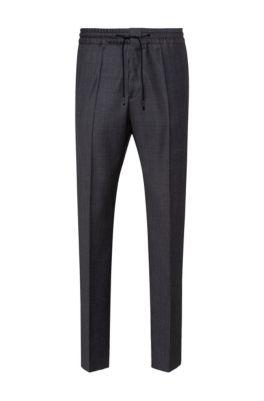 Extra slim-fit broek van scheerwol met microdessin, Donkergrijs