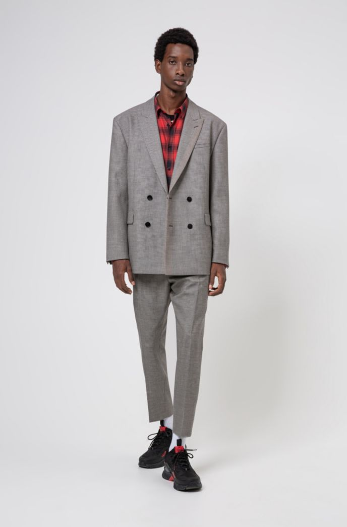 Double-breasted oversized-fit suit in checked virgin wool