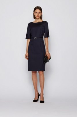 Pinstripe dress in stretch virgin wool with belt detail, Patterned