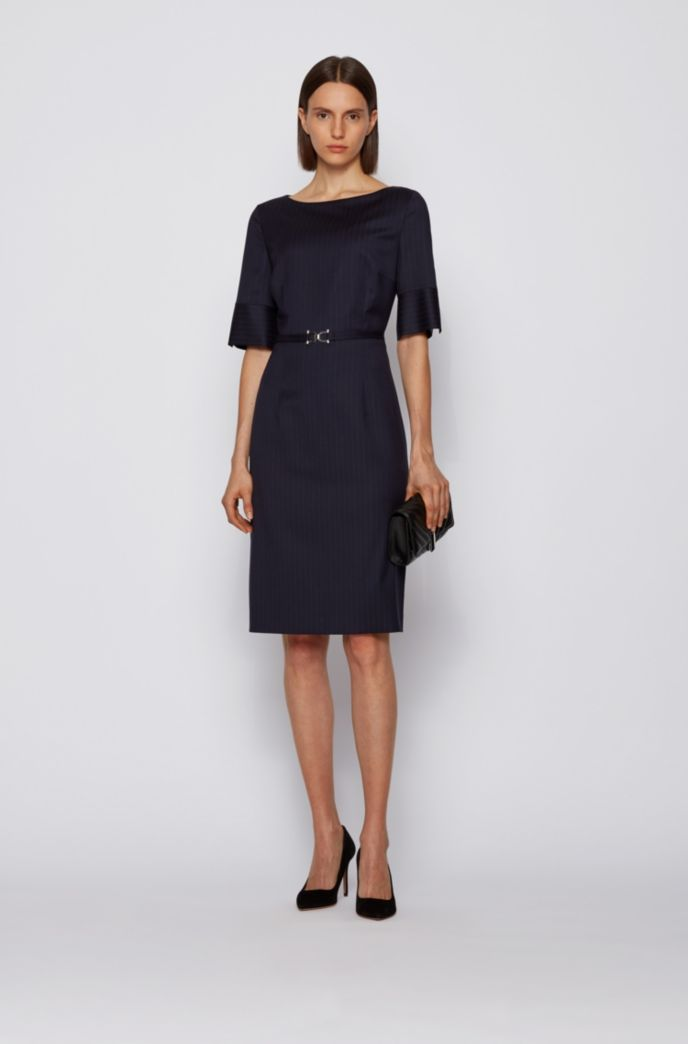 Pinstripe dress in stretch virgin wool with belt detail