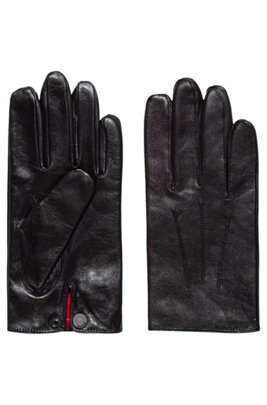 Nappa-leather gloves with snap-close cuff, Black
