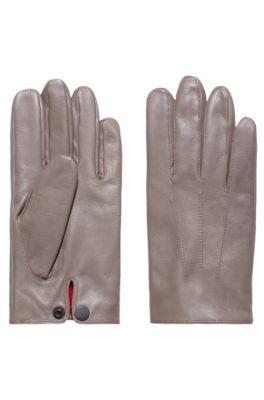 Handschoenen van nappaleer met drukknoopsluiting, Lichtbruin