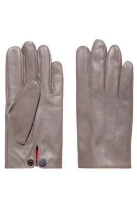 Nappa-leather gloves with snap-close cuff, Light Brown