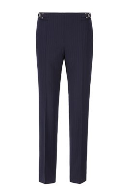 Pinstripe regular-fit trousers with new-season hardware, Patterned