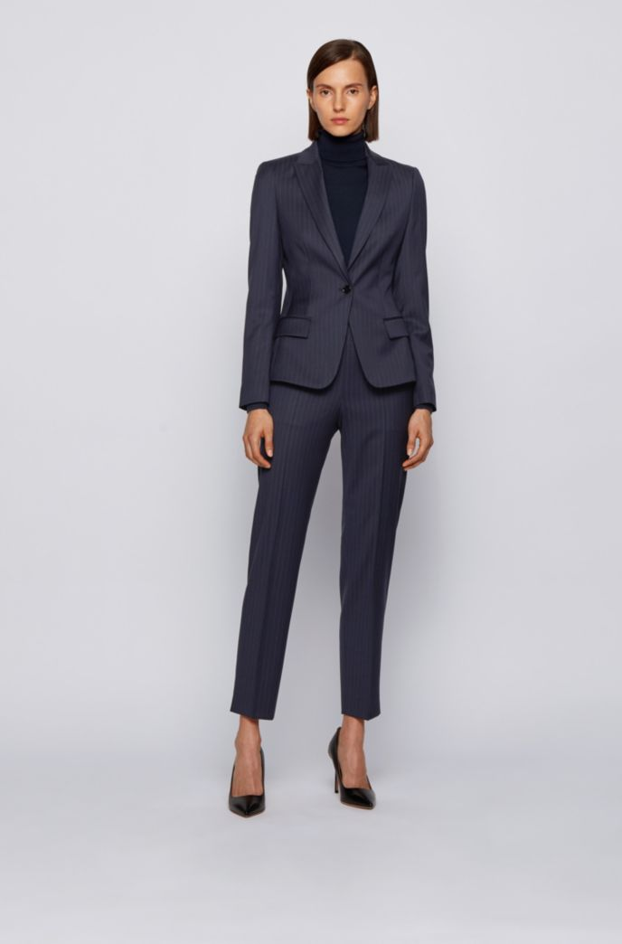 Pinstripe regular-fit trousers with new-season hardware