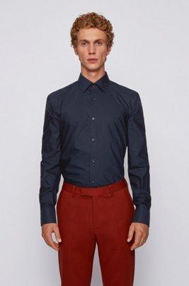 Chemise Slim Fit en coton italien avec patte de boutonnage à logos, Bleu foncé