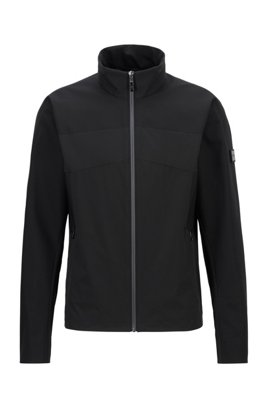 Water-repellent jacket in mixed fabrics, Black