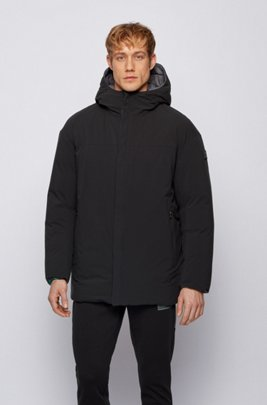 Reversible oversized down jacket in water-repellent fabric, Black