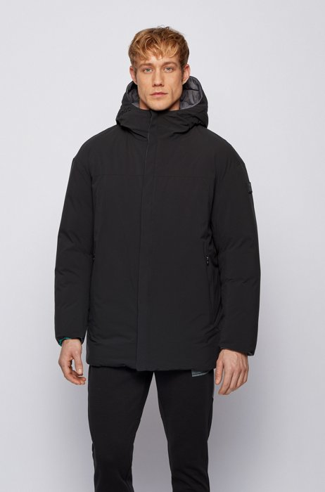 Reversible oversized down jacket in water-repellent fabric, Black
