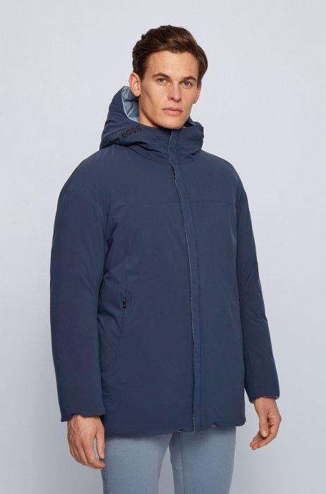 Reversible oversize down jacket in water-repellent fabric, Dark Blue