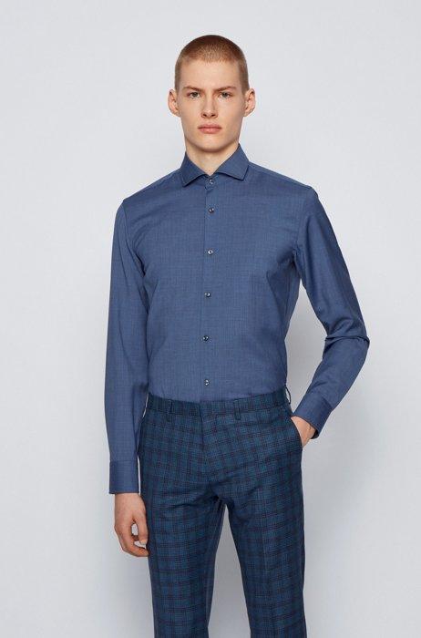 Slim-fit shirt in traceable merino wool, Light Blue