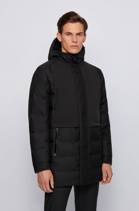 Water-repellent down jacket with detachable embroidered hood, Black