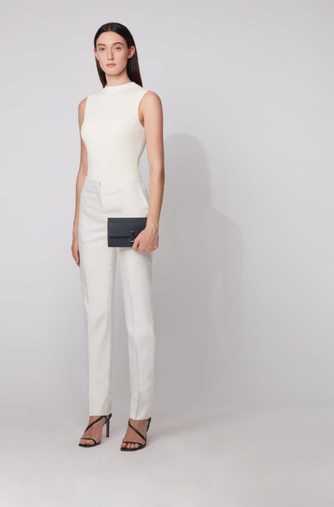Regular-fit trousers in silk poplin